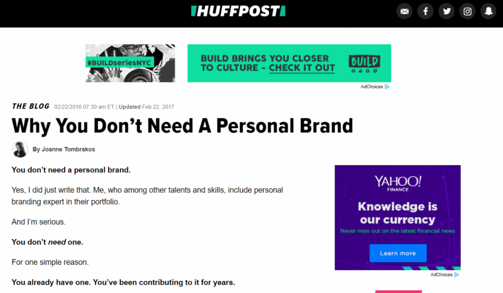 huffpost - why you don't need a personal brand