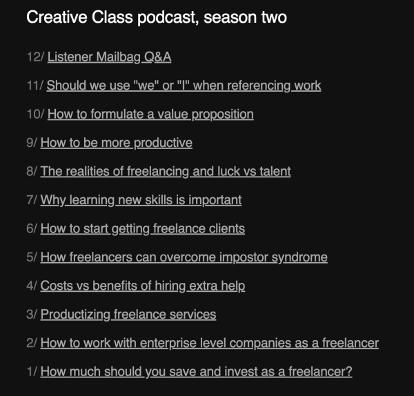 Creative Class podcast topics